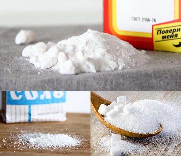 соль, сода, сахар