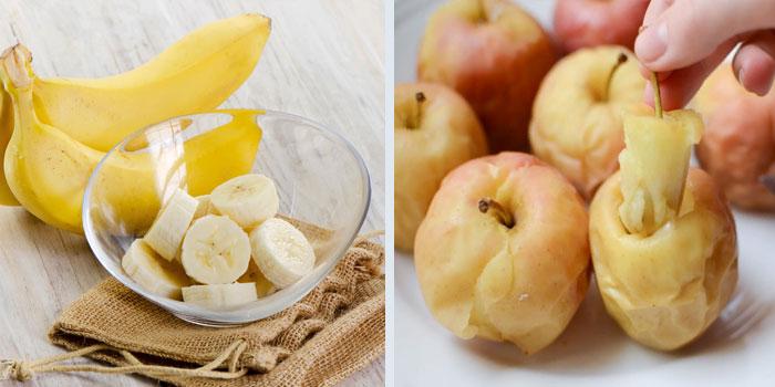 Бананы и печеные яблоки