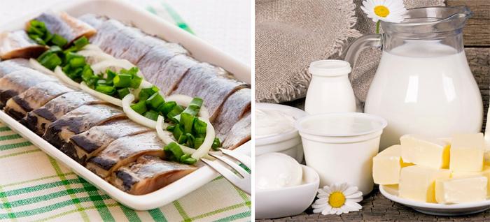 Молочные продукты и селедка