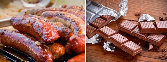 Жирная еда и шоколад